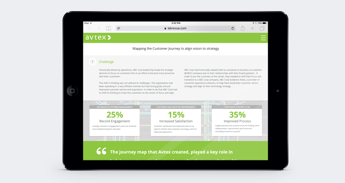 Avtex Solution Story Page Example