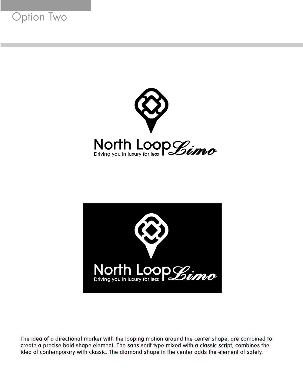North Loop Limo Black and White Logo Concept
