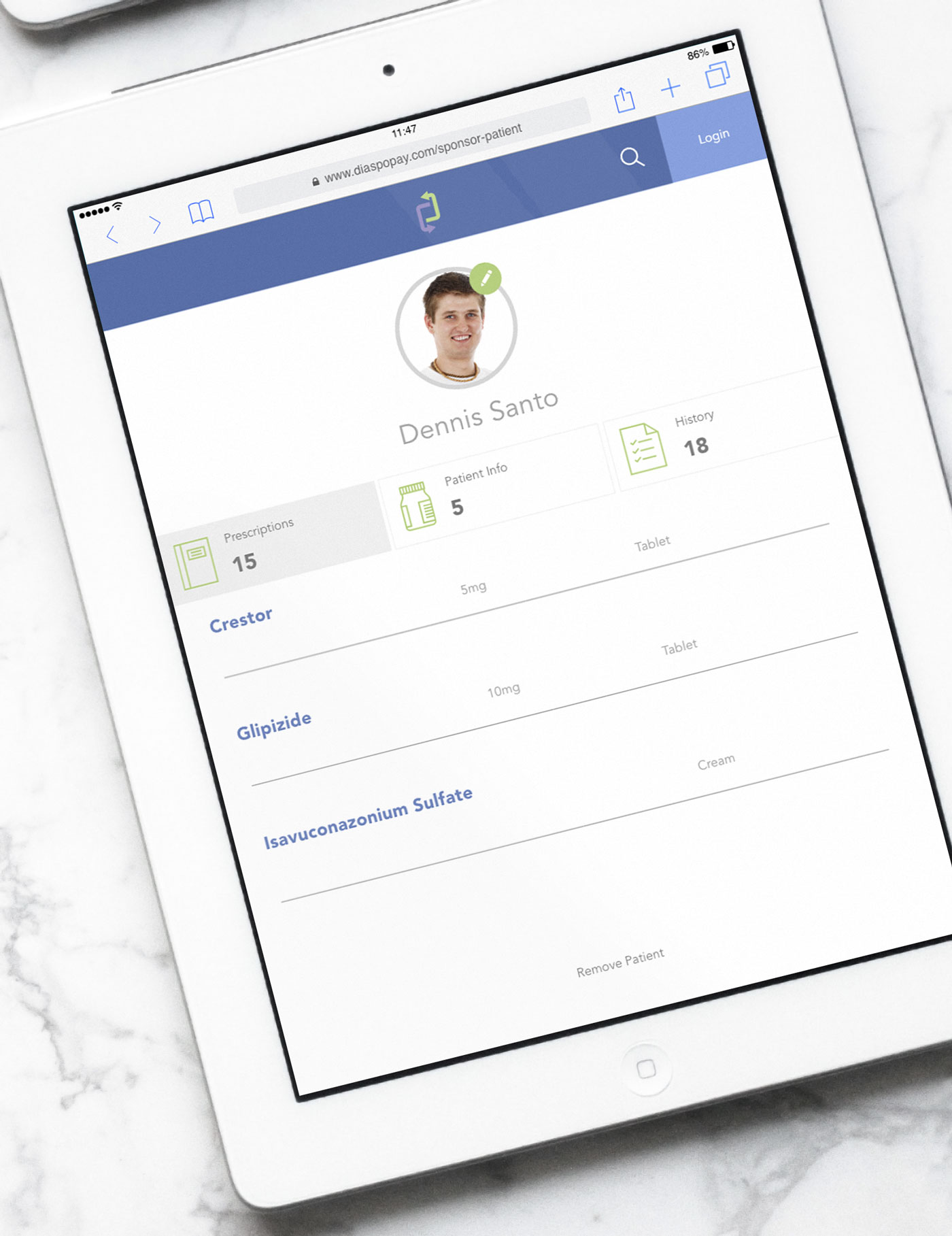 DiaspoPay Patient Screen