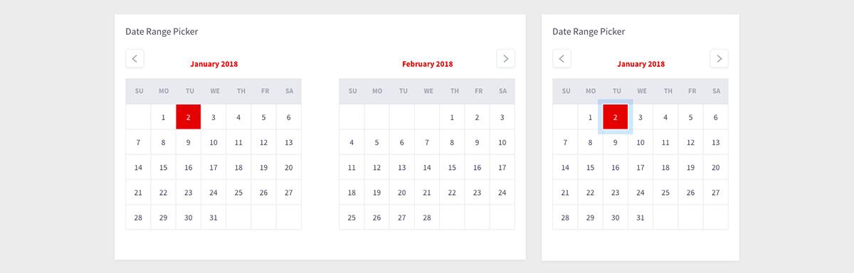 Calendar component design system